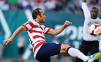 PORTLAND, Ore. - July 9, 2013: Landon Donovan shoots the ball in the first half. The US Men's National team plays the National team of Belize during the 2013 Gold Cup at at JELD-WEN Field.