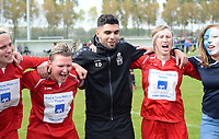 20170429 - BRUGGE , BELGIUM : Melsele pictured with Karim Didi celebrating after winning the game and title after the soccer match between the women teams of Cerkelladies Brugge and Svelta Melsele , during the last matchday in the 2016-2017  Tweede klasse - Second Division season, Saturday 29 th April 2017 . PHOTO SPORTPIX.BE | DAVID CATRY