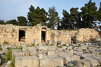 A general view of the West Shops, on April 16, 2007 in Corinth, Greece. A row of shops, seen here in the early morning light, forms the west side of the forum. There is an an entrance to the Forum through the middle of the row. An inscription on one of the shops refers to repairs after earthquake damge in 375 AD.