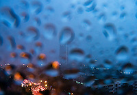 Abstract view onto traffic during a very heavy Rainstorm, Manila, Philippines