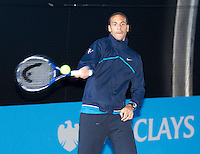 Rio Ferdinand visits the barclays Ball Kids at the Barclays ATP World Tour Finals. ..@AMN IMAGES, Frey, Advantage Media Network, Level 1, Barry House, 20-22 Worple Road, London, SW19 4DH.Tel - +44 208 947 0100.email - mfrey@advantagemedianet.com.www.amnimages.photoshelter.com.