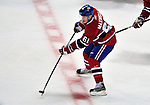 21 September 2009: Montreal Canadiens' center Ben Maxwell brings the puck over center ice during a pre-season game against the Pittsburgh Penguins at the Bell Centre in Montreal, Quebec, Canada. The Canadiens edged out the defending Stanley Cup Champions 4-3. Mandatory Credit: Ed Wolfstein Photo