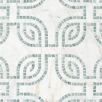 Heathrow Grande, a hand-cut and waterjet mosaic, shown in honed Cloud Nine and tumbled Ming Green, is part of the Miraflores Collection by Paul Schatz.
