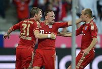 FUSSBALL   1. BUNDESLIGA  SAISON 2012/2013   5. Spieltag FC Bayern Muenchen - VFL Wolfsburg    25.09.2012 Bastian Schweinsteiger, Franck Ribery und Arjen Robben (v. li., FC Bayern Muenchen)