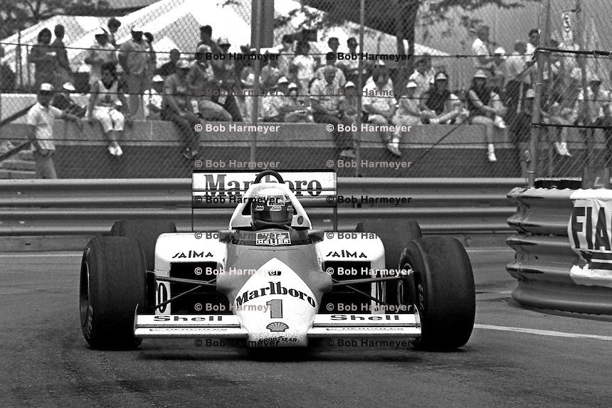 DETROIT, MI - JUNE 22: Alain Prost of France drives the McLaren MP4-2C/TAG TTE PO1 en route to a third place finish in the Detroit Grand Prix FIA Formula One World Championship race on the Detroit Street Circuit in Detroit, Michigan, on June 22, 1986.