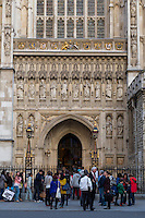 London, England.  Westminster Abbey, Christian Martyr Statues Carved in Stone on Facade, added 1998.