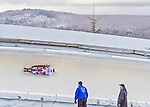 9 January 2016: Hiroatsu Takahashi, competing for Japan, slides through Curve 14 on his second run of the day during the BMW IBSF World Cup Skeleton Championships at the Olympic Sports Track in Lake Placid, New York, USA. Takahashi ended the day with a combined 2-run time of 1:51.14 and a 15th place overall finish. Mandatory Credit: Ed Wolfstein Photo *** RAW (NEF) Image File Available ***