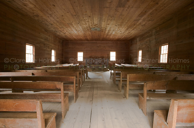 The stark interior of the Primitive Baptist Church in Cades Cove, Great Smoky Mountains National Park
