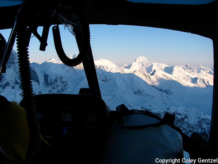 Avalanche spire from the park service helicopter, Alaska Range, Denali National Park