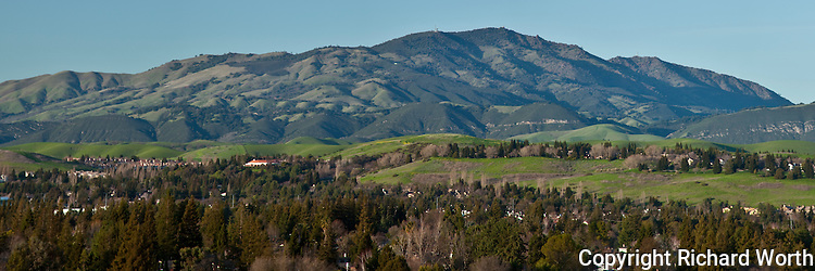 Panoramic image of Mount Diablo from across the San Ramon Valley near sunset.