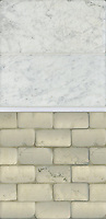 Giovanni Barbieri Carrara Timeworn 6x12 inch bricks, Paperwhite pencil polished, and Bianco Antico Timeworn 2x4 inch bricks.