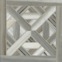 Marshall, a stone waterjet mosaic shown in Cashmere vein cut honed, is part of the Parquet Line by Sara Baldwin for New Ravenna Mosaics.