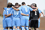 27 November 2011: UNC's starters huddle before the start of the game. The University of North Carolina Tar Heels defeated the Indiana University Hoosiers 1-0 in overtime at Fetzer Field in Chapel Hill, North Carolina in an NCAA Men's Soccer Tournament third round game.