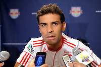 Rafa Marquez (4) of the New York Red Bulls is interviewed on Media Day at Red Bull Arena in Harrison, NJ, on March 15, 2011.