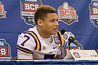 Tyrann Mathieu of LSU smiles while talking with the reporters during BCS Media Day at Mercedes-Benz Superdome in New Orleans, Louisiana on January 6th, 2012.