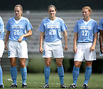 UNC's Lindsay Tarpley (25), Heather O'Reilly (20) and Lori Chalupny (17) during pregame player introductions on Sunday September 18th, 2005 at Duke University's Koskinen Stadium in Durham, North Carolina. The University of North Carolina Tarheels defeated the University of Alabama-Birmingham Blazers 4-0 during the Duke adidas Classic soccer tournament.