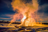 Geothermal steam, Fountain Paint Pot, Yellowstone National Park, Wyoming