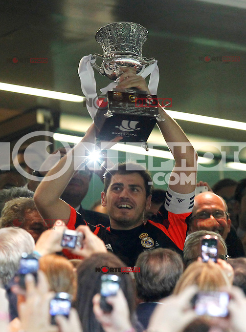 Real Madrid's Iker Casillas during Spanish Supercup 2nd match on august 29 2012...Photo: Cebola / Cid-Fuentes / ALFAQUI /NortePhoto.com<br /> <br /> **CREDITO*OBLIGATORIO** <br /> *No*Venta*A*Terceros*<br /> *No*Sale*So*third*<br /> *** No*Se*Permite*Hacer*Archivo**<br /> *No*Sale*So*third*