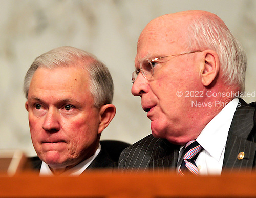 United States Senators Jeff Sessions (Republican of Alabama), left, and Patrick Leahy (Democrat of Vermont), right, discuss the testimony of U.S. Solicitor General Elena Kagan at her confirmation hearing as Associate Justice of the United States Supreme Court before the U.S. Senate Judiciary Committee in Washington, D.C. on Tuesday, June 29, 2010..Credit: Ron Sachs / CNP