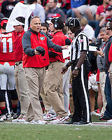 The Georgia Bulldogs beat the App State Mountaineers 45-6 in their homecoming game.  After a close first half, UGA scored 31 unanswered points in the second half.  Georgia Bulldogs head coach Mark Richt appeals to the line judge