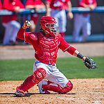 28 February 2016: Washington Nationals catcher Jhonatan Solano in action during an inter-squad pre-season Spring Training game at Space Coast Stadium in Viera, Florida. Mandatory Credit: Ed Wolfstein Photo *** RAW (NEF) Image File Available ***