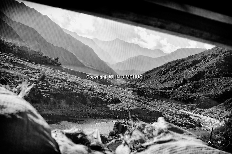 Saw village is seen from Checkpoint 2.5 in Kunar province, 02 Dec 2011. (John D McHugh)