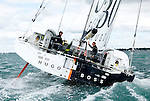 Start of the Rolex Fastnet Race, Cowes, Isle of Wight, United Kingdom. Alex Thomson and Guillermo Altadill crew on the IMOCA 60 Hugo Boss design by Juan kouyoumdjian.