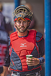 11 March 2013: Atlanta Braves catcher Matt Pagnozzi hydrates in the dugout during a Spring Training game against the Washington Nationals at Space Coast Stadium in Viera, Florida. The Braves defeated the Nationals 7-2 in Grapefruit League play. Mandatory Credit: Ed Wolfstein Photo *** RAW (NEF) Image File Available ***