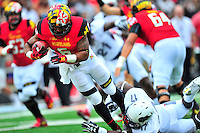Ty Johnson of the Terrapins powers his way to the end zone. Maryland routed Howard 52-13 during home season opener at Capital One Field in College Park, MD on Saturday, September 3, 2016.  Alan P. Santos/DC Sports Box