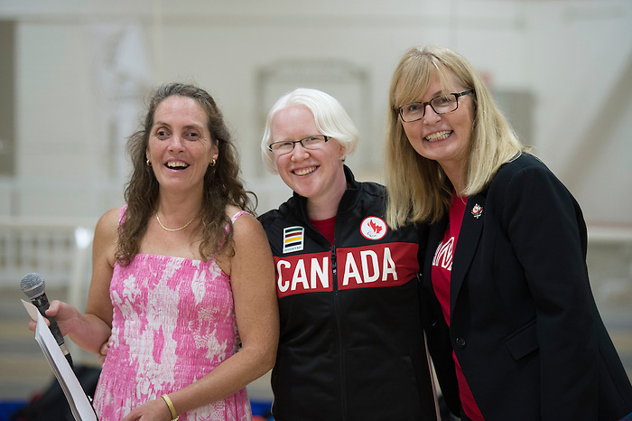 August 26, 2016: TORONTO, the Canadian Paralympic Goalball Team was announced to the media at Variety Village. Each team member was introduced, welcomed by CPC President Karen O'Neill and participated in a goal ball demonstration.