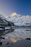 Mount Cook reflections in Hooker Lake - Early Winter. South Island, New Zealand