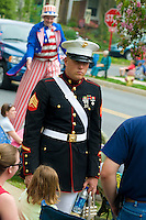 Loyalty day patriotic parade in small town USA.