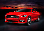 Red 2015 Ford Mustang sports car racing on a road at night