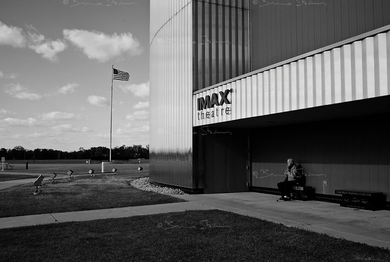 Dayton, OH, October 29, 2008.US Air Force National Museum. A US Air Force Veteran smokes a cigaret outside the museum' cinema, it is probably the largest aviation museum in the world.