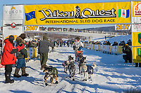 Lance Mackey at the finish of the Yukon Quest 2007 in Fairbanks, Alaska, February 20. Mackey set a new race record with his third consecutive victory in the 1000 mile sled dog race between Whitehorse, Yukon Territory and Fairbanks, Alaska.