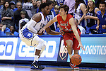 08 November 2014: Central Missouri's Brad Woodson (3) and Duke's Justise Winslow (12). The Duke University Blue Devils hosted the University of Central Missouri Mules at Cameron Indoor Stadium in Durham, North Carolina in an NCAA Men's Basketball exhibition game. Duke won the game 87-47.
