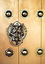 door detail at Chi Lin Nunnery, Hong Kong. Buddist temple with traditional chinese architecture