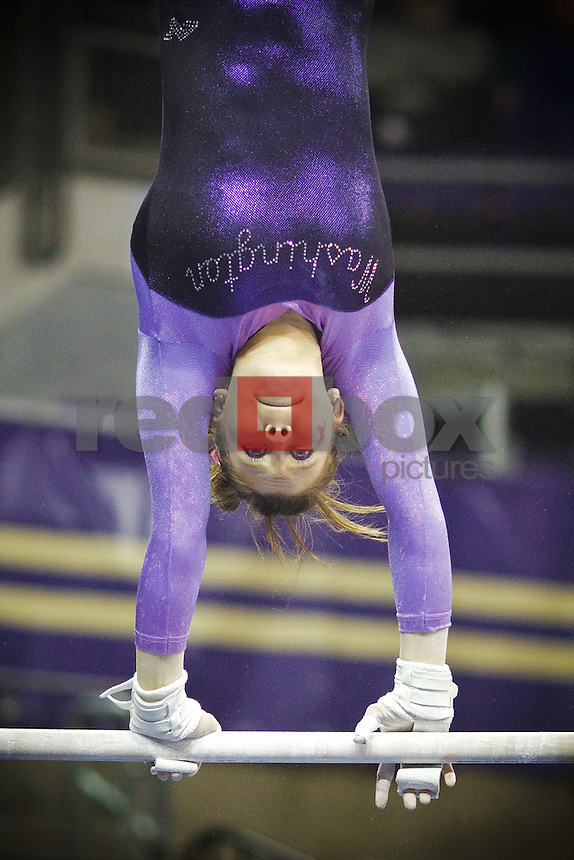 Jackie McCartin..----Washington Huskies gymnastics tri-meet vs Louisiana State University and Seattle Pacific University at Alaska Airlines Arena at Hec Edmundson Pavilion in Seattle on Friday, February 17, 2012. (Photo by Dan DeLong/Red Box Pictures)