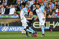 Melbourne, 17 December 2016 - BRUCE KAMAU (11) of Melbourne City is fouled in the round 11 match of the A-League between Melbourne City and Melbourne Victory at AAMI Park, Melbourne, Australia. Victory won 2-1 (Photo Sydney Low / sydlow.com)