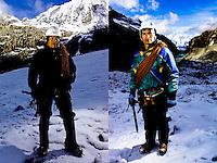 Peruvian mountain guide Abel Colana and Carlos Callupe poses for a photo at the White Mountain range  near Huaraz, Peru, Saturday, Jan. 15, 2011.(Photo Dado Galdieri)