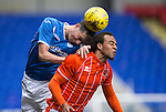 St Johnstone v Blackpool...25.07.15  McDiarmid Park, Perth.. Pre-Season Friendly<br /> Joe Shaughnessy gets above Charles Dunne<br /> Picture by Graeme Hart.<br /> Copyright Perthshire Picture Agency<br /> Tel: 01738 623350  Mobile: 07990 594431