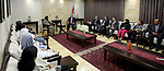 Palestinian Prime Minister Rami Hamdallah meets with a delegation from the Kuwaiti Ministry of Education, in the West Bank city of Ramallah, on April 23, 2017. Photo by Prime Minister Office