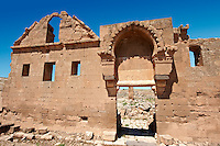 "Pictures of the the ruins of the 8th century University of  Harran, south west Anatolia, Turkey.  Harran was a major ancient city in Upper Mesopotamia whose site is near the modern village of Altınbaşak, Turkey, 24 miles (44 kilometers) southeast of Şanlıurfa. The location is in a district of Şanlıurfa Province that is also named ""Harran"". Harran is famous for its traditional 'beehive' adobe houses, constructed entirely without wood. The design of these makes them cool inside. 49"