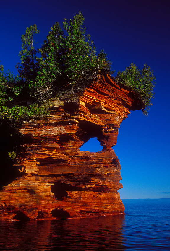 The sculpted sandstone shoreline of Devils Island in the Apostle Islands National Lakeshore near Bayfield, Wis.