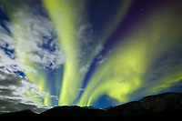 Aurora borealis over the Brooks mountains in Arctic Alaska