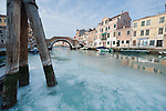 VENICE, ITALY - FEBRUARY 05:  A general view of the Canal of Cannaregio partially frozen on February 5, 2012 in Venice, Italy. Italy as most of Europe is under a spell of very cold weather, it is more than 20 years aince the Venice Lagoon last froze.  (Photo by Marco Secchi/Getty Images)