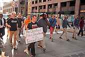 Protestors chanting &quot;black lives matter&quot; walk down Euclid Street, about a block away from the Quicken Loans Arena, the site of the 2016 Republican National Convention in Cleveland, Ohio on Friday, July 15, 2016.<br /> Credit: Ron Sachs / CNP<br /> (RESTRICTION: NO New York or New Jersey Newspapers or newspapers within a 75 mile radius of New York City)