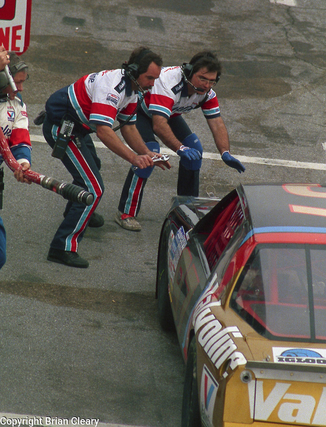 pits pit stop action Busch series race  at Daytona International Speedway on February 1989.  (Photo by Brian Cleary/www.bcpix.xom)
