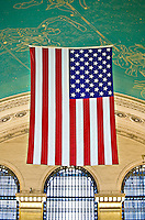 The flag of the United States, hanging from the ceiling of Grand Central Station.