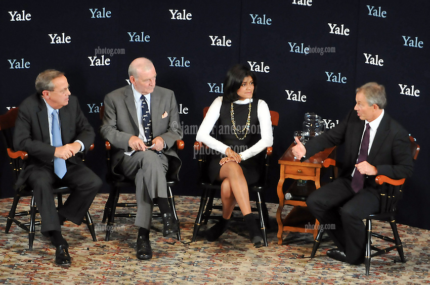 Tony Blair, UK Prime Minister at Yale University in conversation with President Richard Levin, Paul Kennedy &amp; Lita Tandon on Sept. 19, 2008 in Woolsey Hall on the Yale Campus.